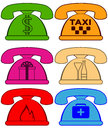 Phones with symbol social services set colorful Stock Photos