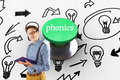 Phonics against digitally generated green push button Royalty Free Stock Photo