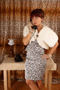 Phoning woman dressed retro style Royalty Free Stock Photo