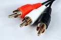 Phono rca plugs black red and white against a white background Royalty Free Stock Images