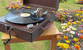 Phonograph garden tea party Royalty Free Stock Photo