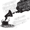 Phonograph sketch and music staff black and white Royalty Free Stock Photography