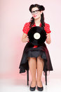 Phonography analogue record girl pin up retro style sexy american woman Royalty Free Stock Images
