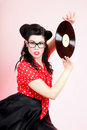 Phonography analogue record girl pin up retro style sexy american woman Stock Photos
