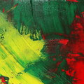Photo abstract yellow green red grunge brush strokes oil paint background Royalty Free Stock Photo