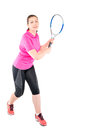 Photo of active woman during a game of tennis Royalty Free Stock Photo