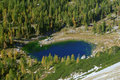 Photo from air perspective, lake in triglav national park Royalty Free Stock Photography