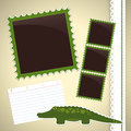Photo album page with crocodile cute cartoon Stock Photography
