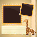 Photo album page with giraffe cute cartoon Royalty Free Stock Photography