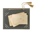 Photo album page with retro style picture frames. Old paper Royalty Free Stock Photo