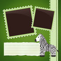 Photo album page with zebra green cute cartoon Stock Photography