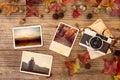 Photo album in remembrance and nostalgia in autumn & x28;fall season& x29; on wood table Royalty Free Stock Photo