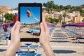 Photo of beach in Giardini Naxos, Sicily, Italy Royalty Free Stock Photo