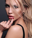 Photo of beautiful sexy woman with blond hair Royalty Free Stock Photo