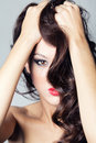 Photo of beautiful woman with magnificent hair brunette Royalty Free Stock Photo