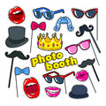 Photo Booth Props with Lips, Hat and Eyeglasses. Party Decoration Badges, Patches and Stickers