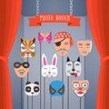 Photo booth props with masks for children vector Royalty Free Stock Photo