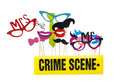 Photo booth props on a white background with crime scene tape Royalty Free Stock Images