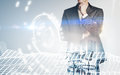 Photo of businessman wearing suit, visual interfaces effects. Double exposure, horizontal Royalty Free Stock Photo