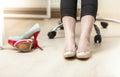 Photo of businesswoman wearing ballet flats closeup Royalty Free Stock Photos