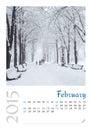 Photo calendar with minimalist landscape february Royalty Free Stock Images