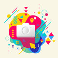 Photo camera on abstract colorful spotted background with differ different elements flat design Stock Photography