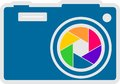 Photo camera icon vector rainbow lens aperture outline silhouette with colors Royalty Free Stock Photos