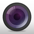 Photo camera lense realistic lens with shutter apperture vector illustration Stock Photo
