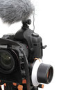Photo camera with microphone and follow focus Royalty Free Stock Photo