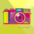 Photo camera retro geometric hipster style trendy colors art technology concept in vector Royalty Free Stock Image