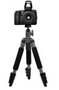 Photo camera a on a tripod isolated on a white background Royalty Free Stock Photos