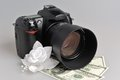 Photo camera wedding boutonniere with money on gray background Stock Photography
