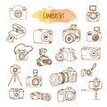Photo Cameras Hand Drawn Illustrations. Vector Video Camera Design. Royalty Free Stock Photo