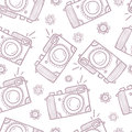 Photo cameras seamless pattern hand drawn background Stock Photography