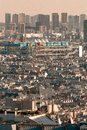 Centre Pompidou, Paris, France pictured from the distance over the skyline of the city Royalty Free Stock Photo