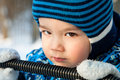 Photo of the child in the header Royalty Free Stock Photos