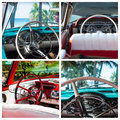 Photo collage from classic cars with interior view in Cuba Royalty Free Stock Photo