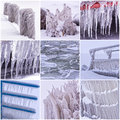 Photo collage of cold winter days with many icicle