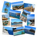 Photo collage from mallorca vacations isolated on white Stock Image