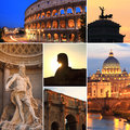 Photo collage of rome at dusk italy Royalty Free Stock Photos