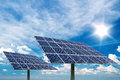 Photo collage of solar panels against blue sky background Royalty Free Stock Photo