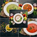 Photo collage. Soup. Hot dishes. Fruits.