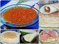 Photo collage traditional russian pancakes. Blini. Pancake week. Maslenitsa is an Eastern Slavic traditional holiday