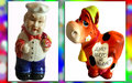 Photo collage useful figurines ceramic for home two item in the house piggy bank cow holder knives chef Royalty Free Stock Photos