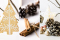 Photo collage, white Christmas decoration, ornaments, wooden fir tree hanging on branch, cinnamon, baubles, pine cones, star Royalty Free Stock Photo