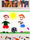 drawing :Two little boys play football. Soccer game Royalty Free Stock Photo