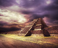 Photo composite of aztec pyramid mexico at sunset with dramatic sky not a real place created using real elements Stock Photo