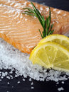Photo of a cooked salmon steak with rosemary and lemon slices on a bed of sea salt Royalty Free Stock Photo