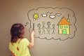 Photo of cute kid imagine a happy family set of infographics over textured wall background Royalty Free Stock Images