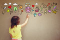 Photo of cute kid imagine princess or fairytale fantasy. set of infographics over textured wall background